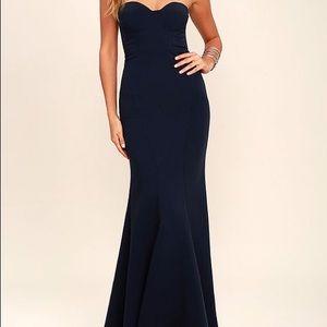 Lulu's Navy Blue Strapless Maxi Prom Dress